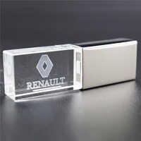 Metal + glass 64GB R enault style pendrive usb2.0 4GB 8GB 16GB 32GB pen drive USB Flash Drive gift Pendrive