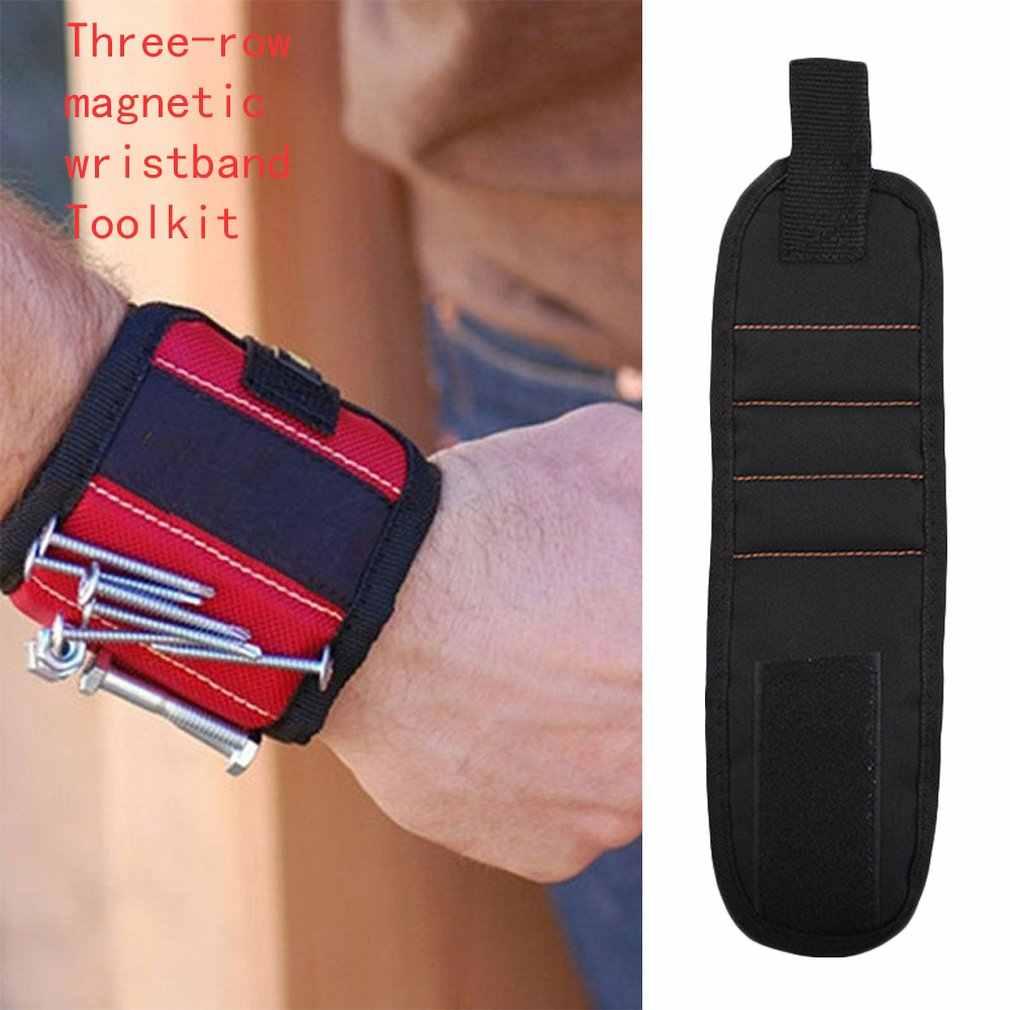 磁気リストバンドポータブルツールバッグマグネット電気技師手首ツールベルトネジ爪ドリルビットブレスレット修復ツールのための
