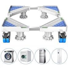 Suporte universal para máquina de lavar, base multifuncional ajustável para secador, frigorífico (4 rodas e pés))