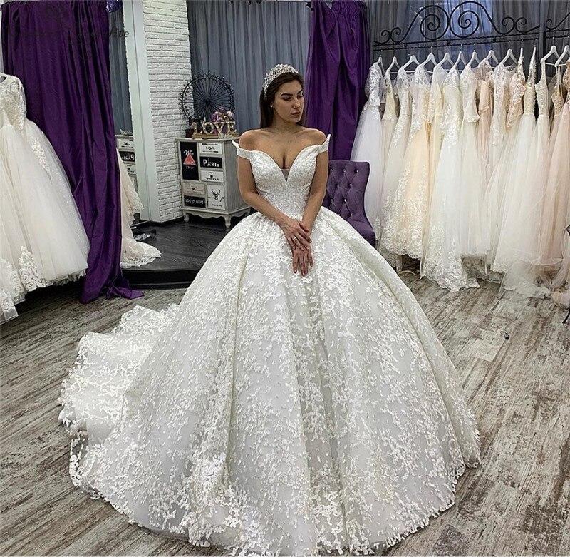 Luxury Ball Gown Princess Wedding Dresses Lace Corest Back Dubai Bridal Gowns Bride Dress Vestido De Noiva 2020
