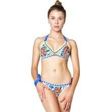 Drozeno nova malha bikini trench rendas biquini feminino 2 peça ternos de natação sexy senhora maiô impresso malha