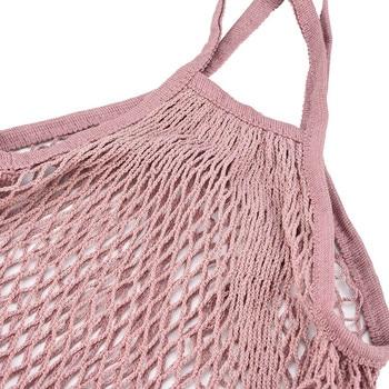 Mesh Net Bag String Fruit Storage reusable shop bags eco Foldable Portable Beach Bag Kid Basket Storage Bag Dropshipping 2