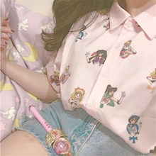 Gagarich Sailor Moon Pink Short Sleeve Shirts Harajuku T Shirt Women Clothes 2019 Cosplay Cute Kawaii Tops(China)
