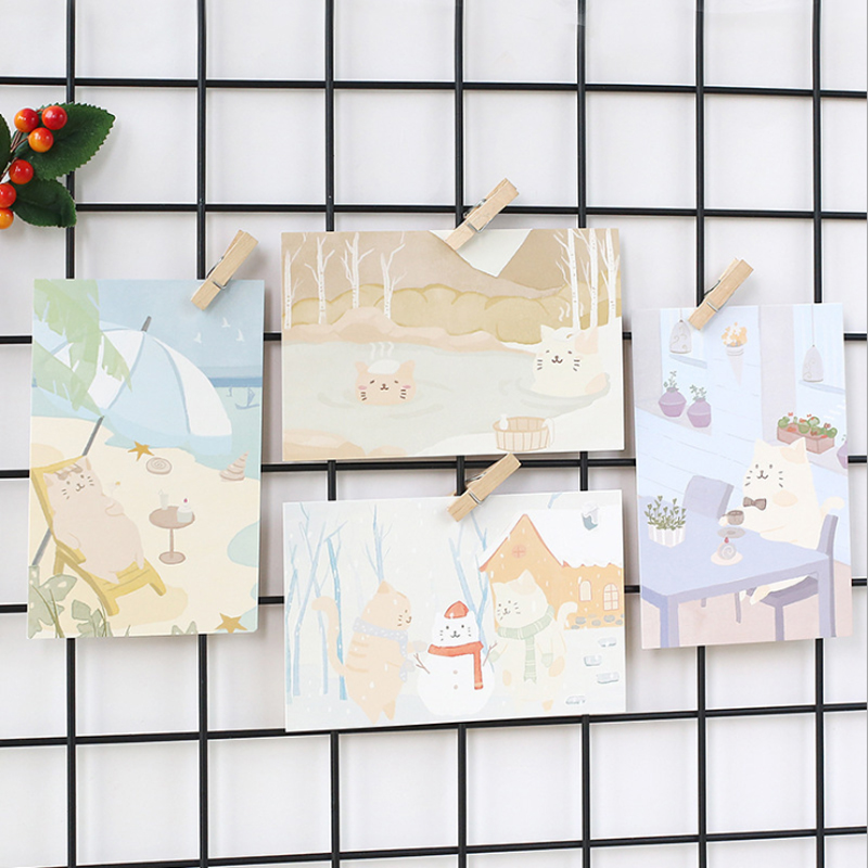 30 Pcs/lot Kawaii Cat's Day Postcard Set Greeting Card Envelope Gift Greeting Card Wish Card New Year Gifts Business Card