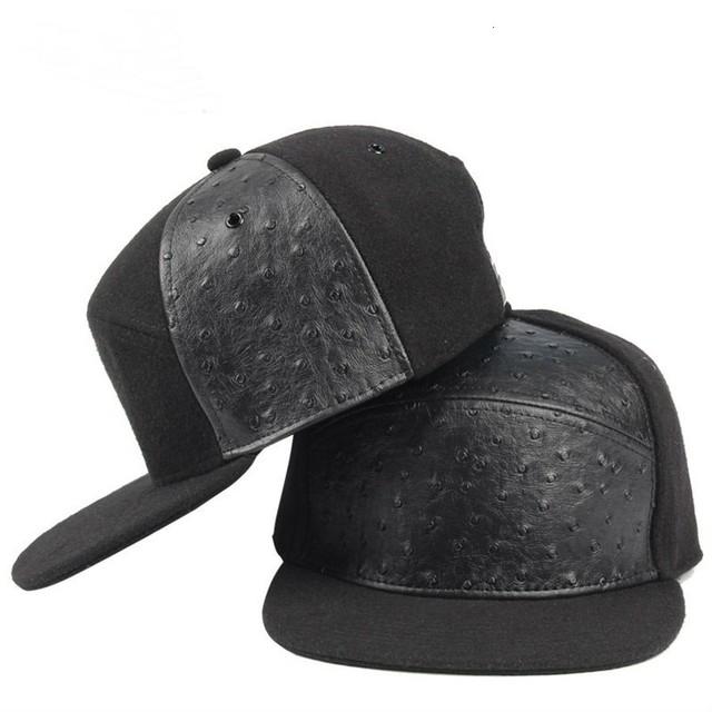 5 Panels Hip Hop Hats Winter Wool Felt Leather Patched Baseball Cap Man Flat Peaked Snapback Caps