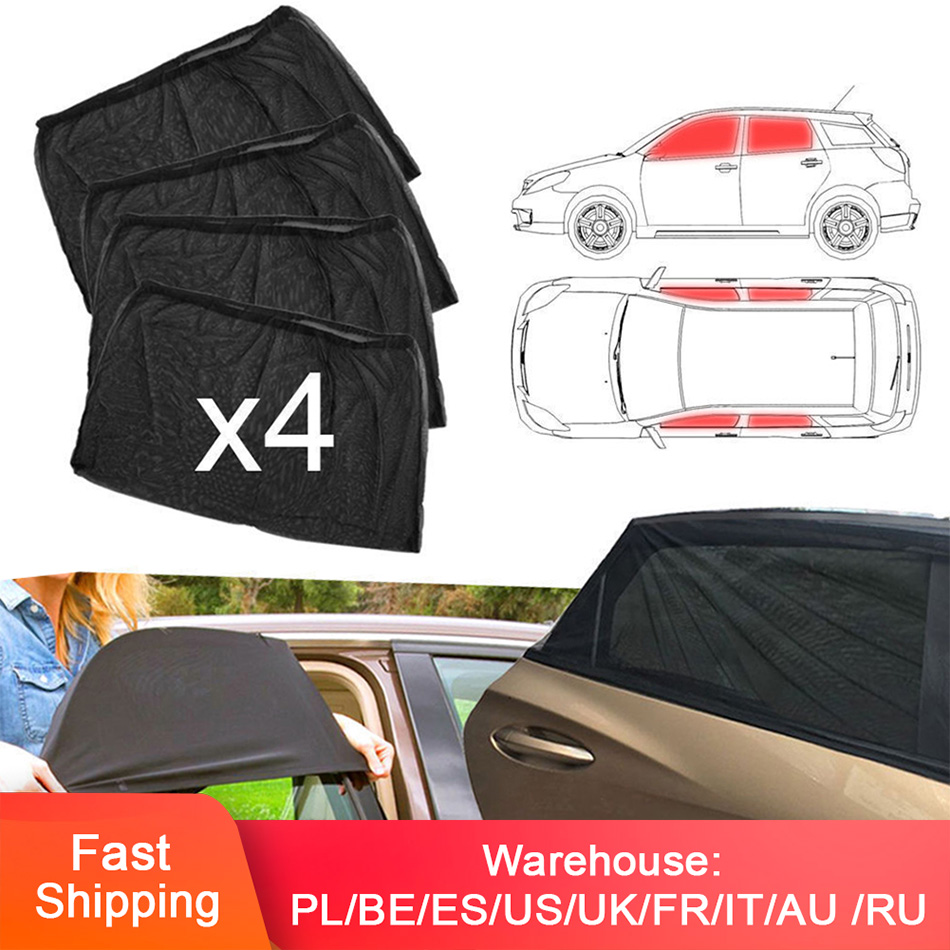 4pcs Car Front & Rear Side Window Sun Visor Shade Mesh Cover Sunshade Shield UV Protector Black Auto Sunshade Curtain