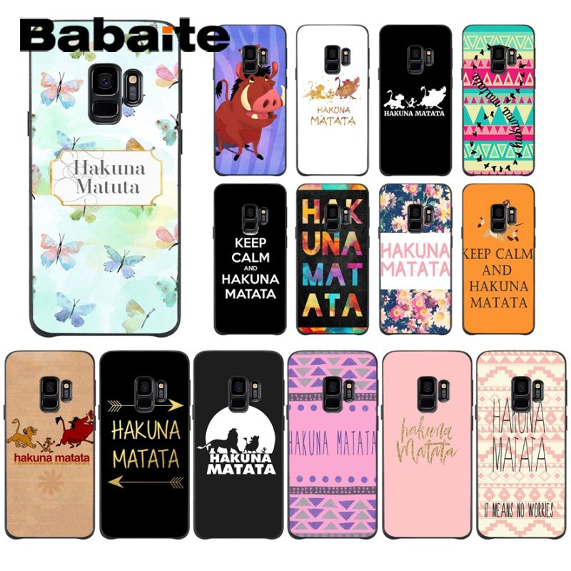 Babaite keep clam <font><b>hakuna</b></font> <font><b>matata</b></font> The <font><b>Lion</b></font> <font><b>King</b></font> Coque Shell Phone Case For Samsung Galaxy s10 s10plus s6 s9 s8plus s7 s6edge cases image