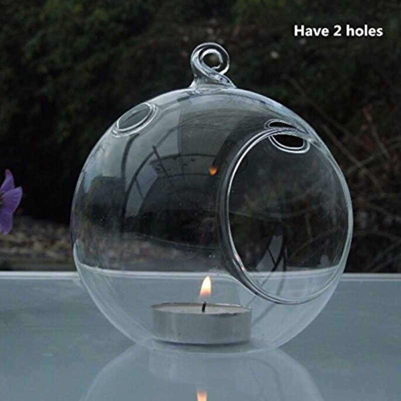 80 MILLIMETRI Appeso Tealight Holder Globi di Vetro Terrario Supporto di Candela di Nozze Candeliere