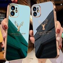 יוקרה אופנה עמיד הלם סיליקון רך כיכר מסגרת ציפוי צבי טלפון מקרה עבור iPhone 12 11 פרו מקס מיני XS חזרה fundas כיסוי