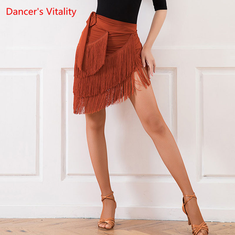 Latin Dance Training Clothes Female Adult Sexy Hip Skirt New Rumba Samba Dancing Performance Practice Tassel Hip Scarf