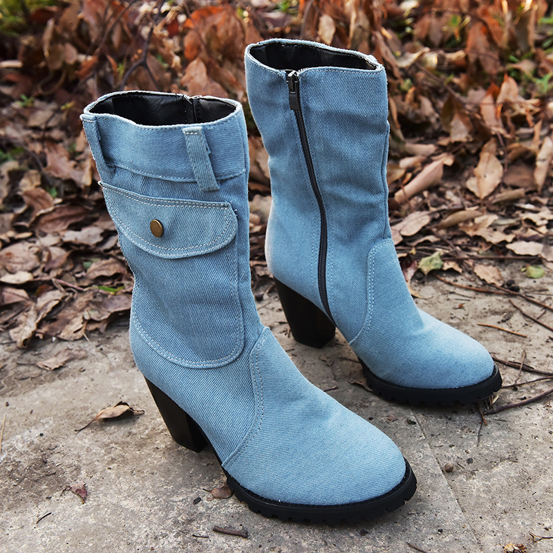 Unique 2020 Women Autumn Winter Boots Denim Design Shoes for Girls Mid-Calf Pocket High Heel Boots Winter Shoes Women