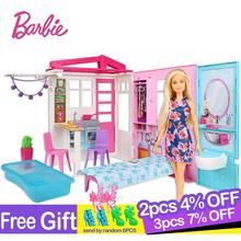 цены Original Barbie Shining Holiday Doll House Set Dolls Accessories Princess Children Education Baby Girls Toys Christmas Gift Box