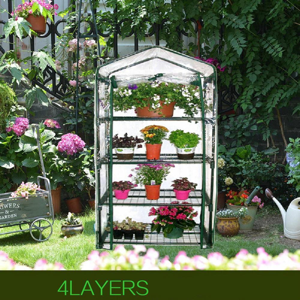 Quatre étages vert ménage plante serre Mini jardin chaud chambre PVC jardin chaud chambre 155x69x49CM