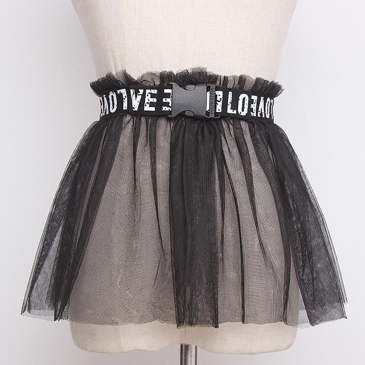 Women's Runway Fashion Letter Belt Black Mesh Elastic Cummerbunds Female Dress Corsets Waistband Belts Decoration Wide Belt R465