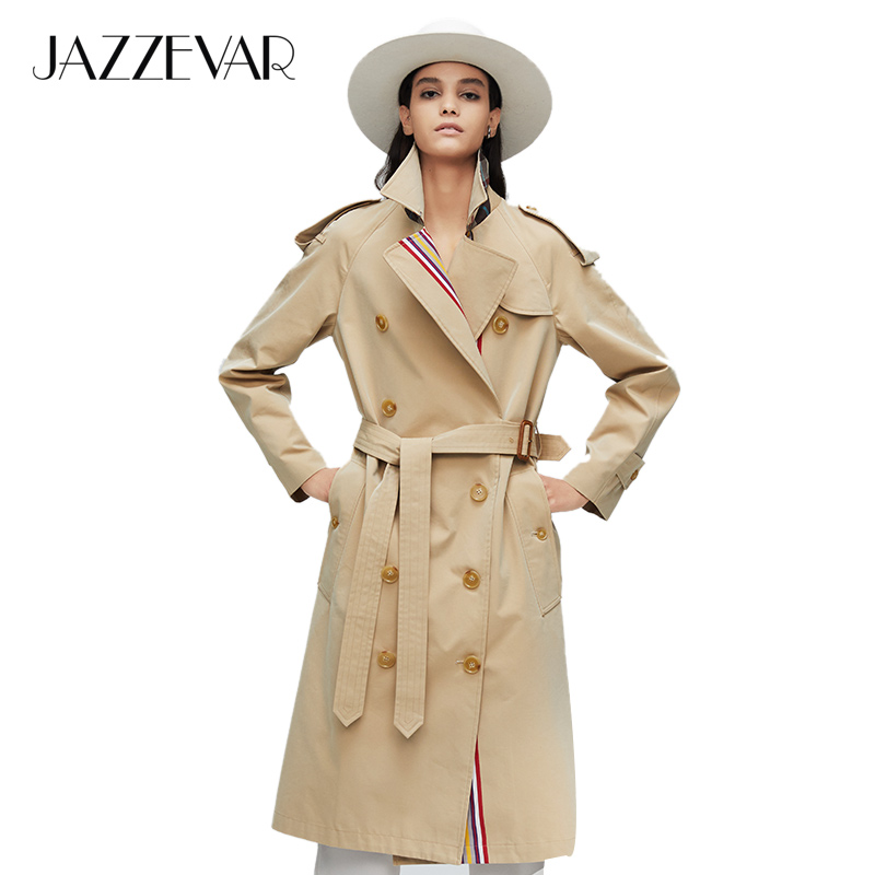 JAZZEVAR 2019 New Arrival Autumn Khaki Trench Coat Women Casual Fashion High Quality Cotton With Belt Long Coat For Women 9004-1