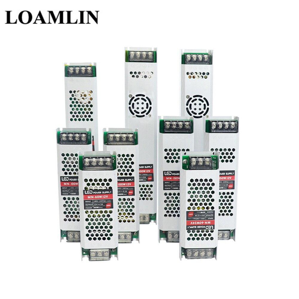 Transformador ultra fino da iluminação da fonte de alimentação do diodo emissor de luz dc12v 60 w 100 w 150 200 300 AC190-240V driver para tiras conduzidas