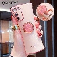 Custodia per Samsung Galaxy Note 20 Ultra S20 FE S10 A6 A7 A8 Plus S21 A72 A52 J8 placcato morbido anello per dito supporto per staffa copertura del telefono