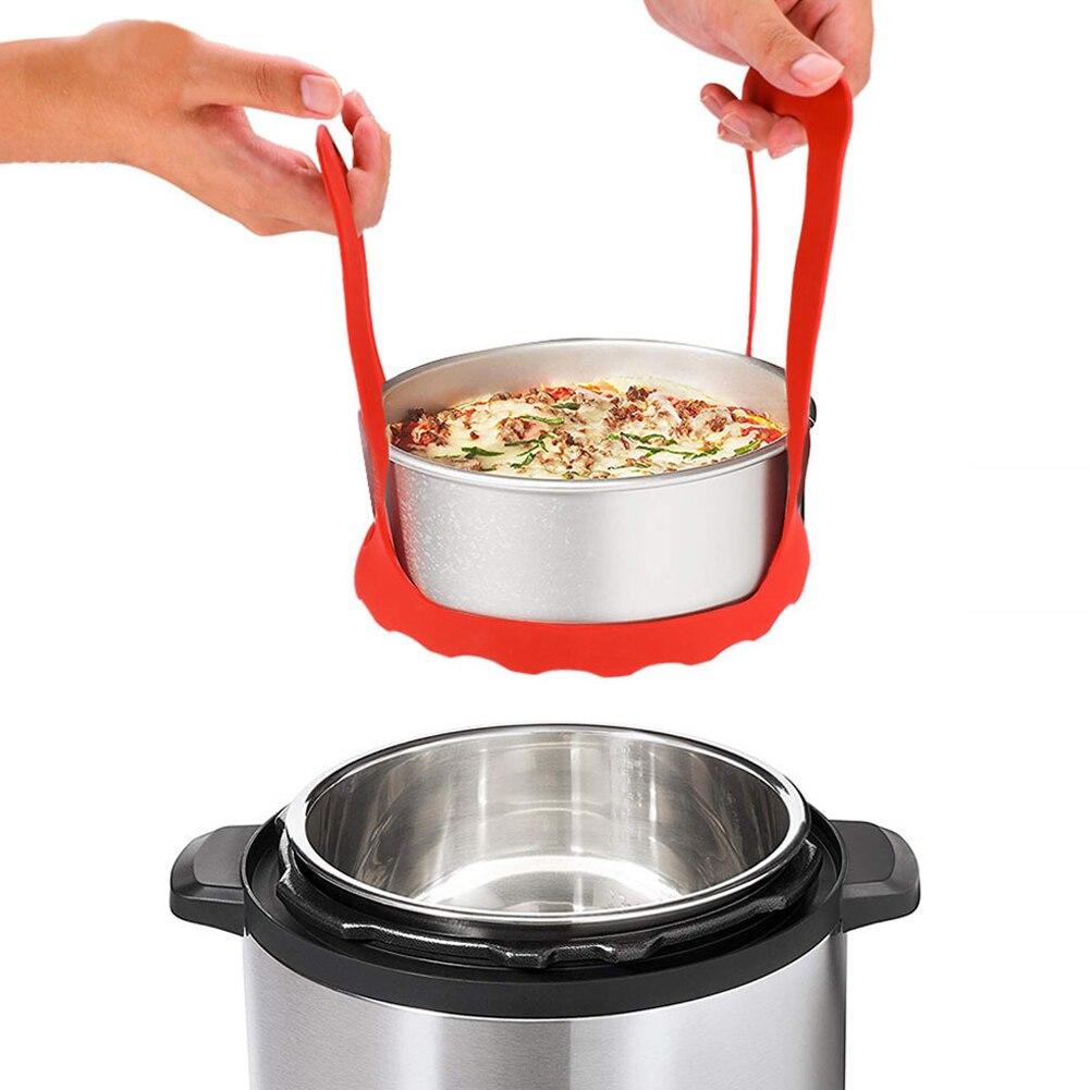 Safe Fruit Storage Hand Hold Durable Multifunctional Silicone Steamer Basket Dual Handle Liner Electric Pressure Cooker Drainer