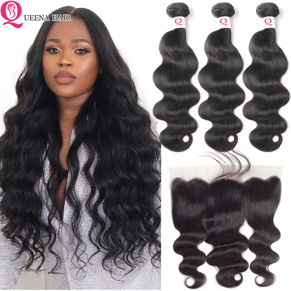 Body Wave Bundles  With Frontal Closure Brazilian Weave Wet And Wavy Bundles With Ear To Ear Frontal Remy 3 Bundles With Closure