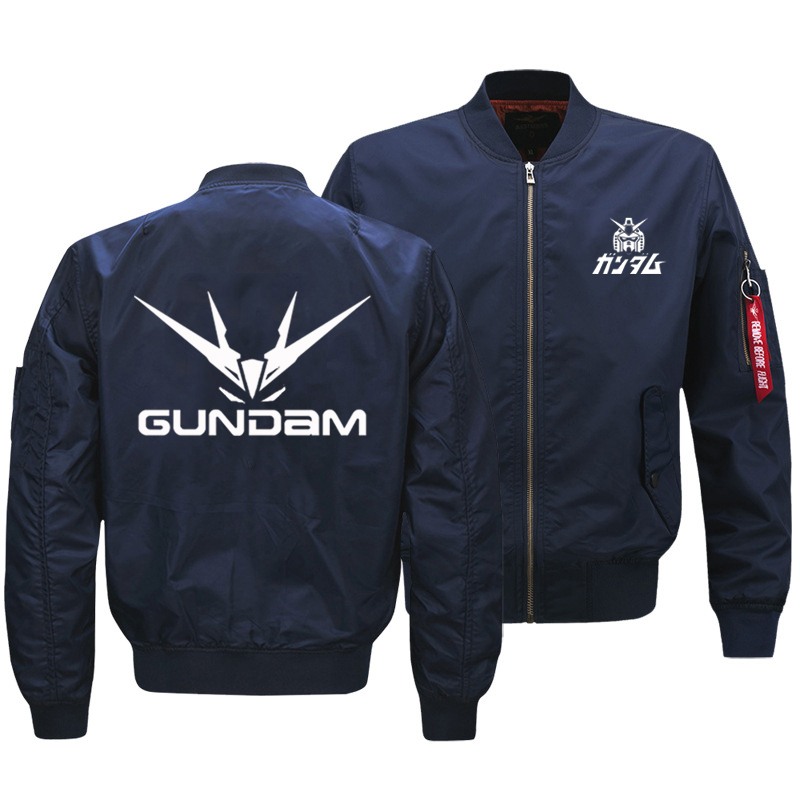 Image 3 - 2018 New Oversize Mens Military Bomber Jacket Anime Gundam Logo 