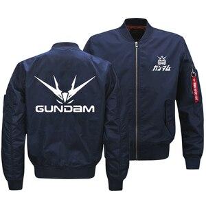 "Image 3 - 2018 החדש Oversize גברים של ז קט הצבאי אנימה Gundam לוגו מודפס מעיל צבא טקטי רוכסן עף מעיל בגדי ארה""ב גודל"