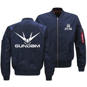 Image 3 - Куртка бомбер мужская оверсайз с принтом логотипа Gundam, армейская тактическая Летающая куртка на молнии, размер США, 2018