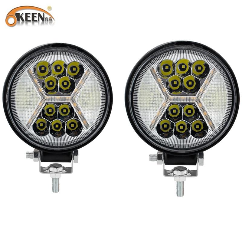 OKEEN 120W 4.5inch LED Work Light Bar Strobe Flash 12V 24V Car Woking Light Fog Light For Tractor Offroad 4x4 Led Truck SUV
