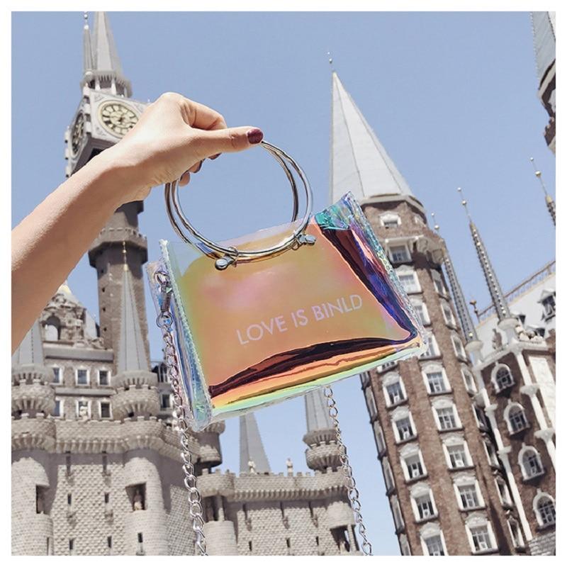 Summer New Letter Shoulder Bag Korean Version Of The Laser Transparent Female Bag Ins Super Fire Ring Small Square Bag