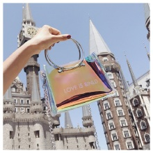Summer new letter shoulder bag Korean version of the laser transparent female bag ins super fire ring small square bag