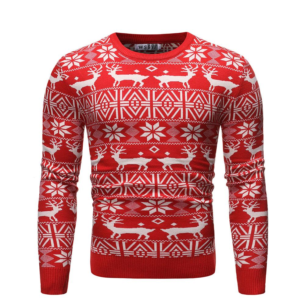 Christmas Sweater For Men Round Neck Deer Print Slim Fit Sweater Knitted Pullover Winter Jumpers Black Red Navy