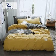 Liv-Esthete 2019 Luxury Yellow Gray Bedding Set Soft Duvet Cover Flat Sheet Double Queen King Bed Linen Quilt