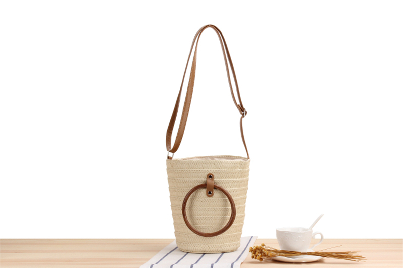 Straw Bucket Bag for Summer 2021 with Leather Shoulder Strap