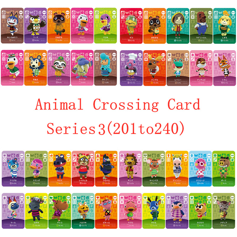 NS Game Series 3 (201 To 240) Animal Crossing Card Amiibo Card Work For