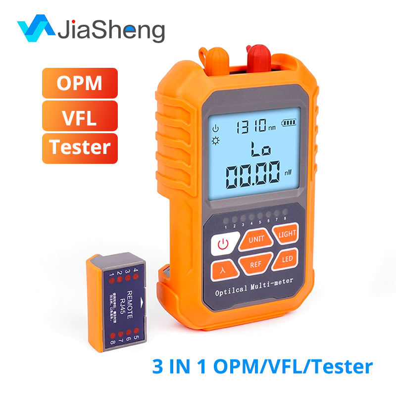 3 In 1 Visual Fault Locator 5km Red Light Laser Pen LED Lighting OPM Optical Power Meter Network Fiber Optic Cable Tester Tools