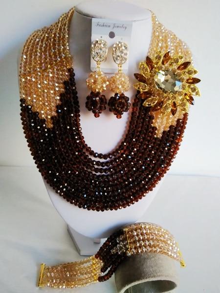 Fabuleux chocolat brun or Champagne cristal nigérian mariage traditionnel perles africaines ensemble de bijoux livraison gratuite ABD397-in Parures de bijoux from Bijoux et Accessoires    1