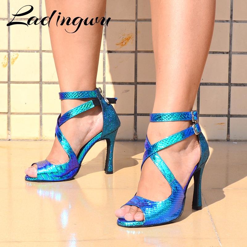 Ladingwu Dance Shoes Latin Women Salsa Shoes Dancing Party Wedding Ballroom Dance Shoes Laser PU And Glitter Blue Gold Silver