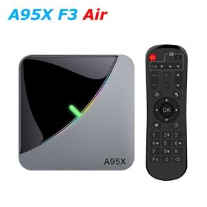 Image 1 - A95X F3 אוויר RGB LED Amlogic S905X3 חכם אנדרואיד 9.0 טלוויזיה תיבת 4GB RAM 32GB 64GB ROM wifi Bluetooth 4K UHD סט Top Box 2GB 16GB