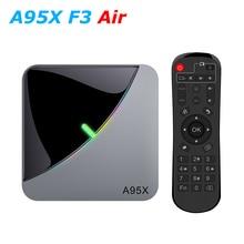 A95X F3 에어 RGB LED Amlogic S905X3 스마트 안드로이드 9.0 TV 박스 4 기가 바이트 RAM 32 기가 바이트 64 기가 바이트 ROM 와이파이 블루투스 4K UHD 셋톱 박스 2 기가 바이트 16 기가 바이트