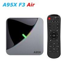 A95X F3 الهواء RGB LED Amlogic S905X3 الذكية أندرويد 9.0 صندوق التلفزيون 4GB RAM 32GB 64GB ROM واي فاي بلوتوث 4K UHD مجموعة صندوق فوقي 2GB 16GB