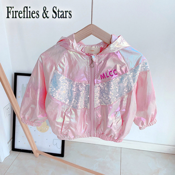 Spring Autumn girls jacket baby coat children outwear kids clothes fashion radient shining letter sequin mesh patch 1 to 7 yrs image