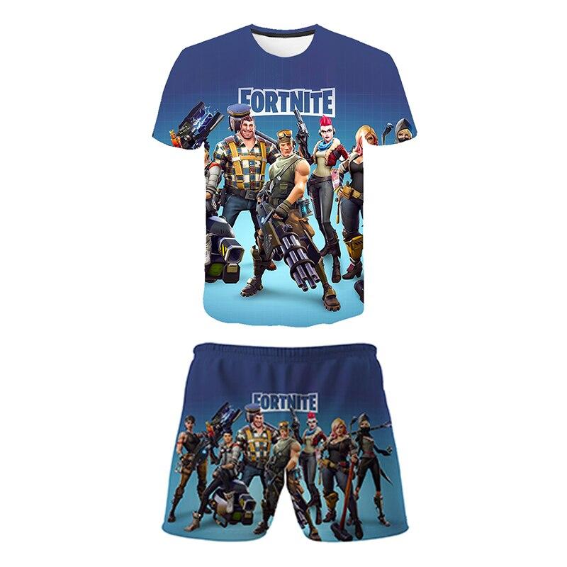 Комплекты одежды для детей комплект одежды состоящий из топов + штанов FORTNITE футболка для девочек футболки для девочек, детские шорты, спорти...