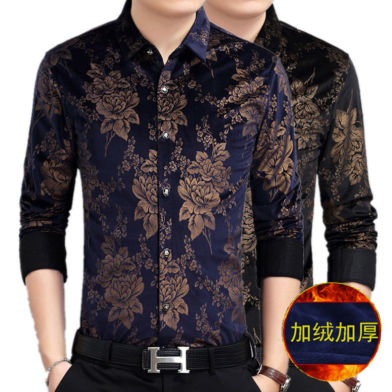Warm Shirt Men's Brushed And Thick 2018 Winter Men'S Wear Gold Velvet Shirt Men's Thick Warm Shirt Men