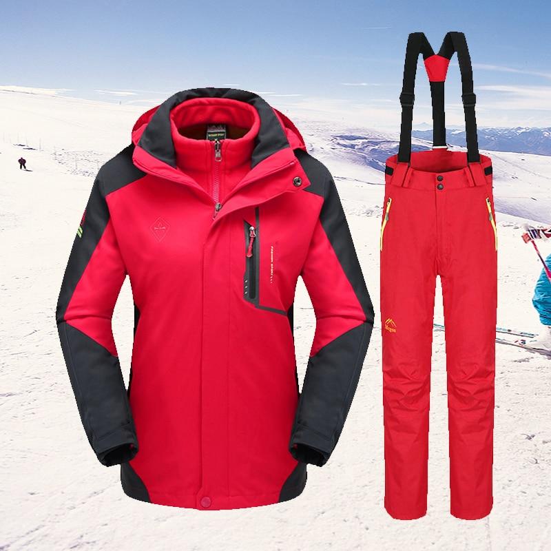 -30°C Warm Ski Suit Women Brand Winter Ski Jacket And Pants Outdoor Sports Waterproof Windproof Snow Skiing And Snowboar Jacket