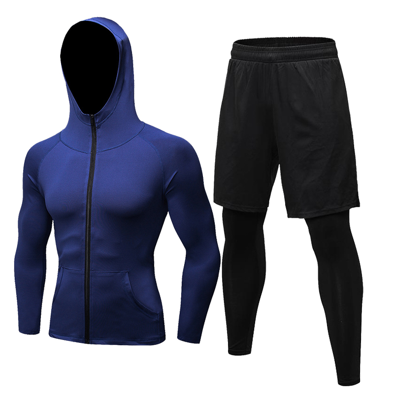 2019 Autumn Men Compression Set Winter Thermal Gym Fitness Sports Suit Running Set Workout Tracksuits Fake Tight Pant Sport Coat