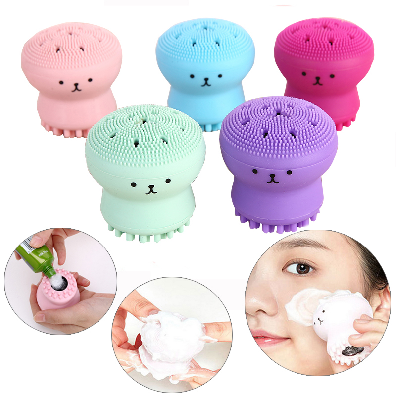 Face Deep Exfoliate Clean Shrink Pores Silicone Cleansing Brush Small Octopus Shape Facial Cleaning Brush Massage Washing Tool