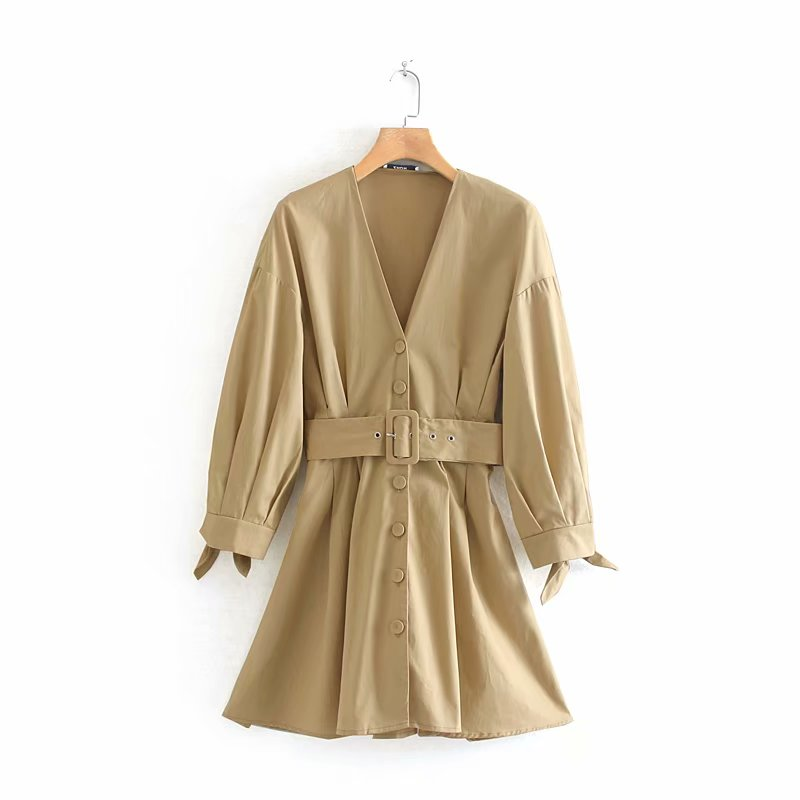 New Women Autumn Solid Color V Neck Belt Dress Female Knotted Sleeve Pleats Vestidos Chic Single Breasted Casual Dresses DS2781