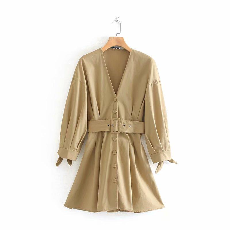 Novas mulheres outono cor sólida pescoço v vestido cinto feminino chic único breasted casual vestidos plissados vestidos de manga atado DS2781