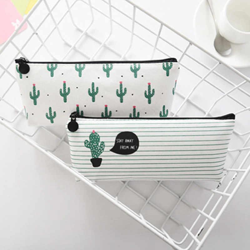 Tkanina płótno kaktus piórnik śliczne szkolne piórnik nowość biurowe biurowe kredka piórnik pokrowiec na długopis Kawaii szkolne