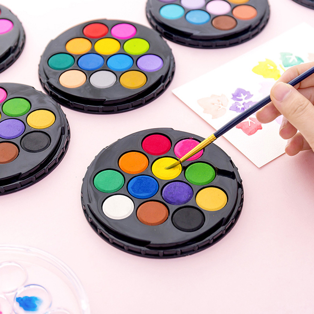 12/24 Colors Art Supplies Solid Pigment Crafts DIY Children Quick Dry Beginner Drawing Stationery Watercolor Paint Set Students