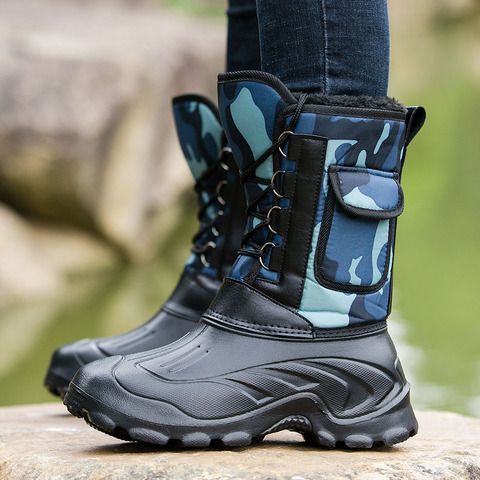 Waterproof Snow Boots Fishing Shoes Men Boots  Winter Warm Fur  Outdoor Camo Hunting Boots Camouflage winter shoes Size 41-46 Pakistan